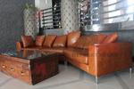 Мека мебел с естествена кожа с ракла