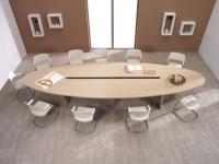 Заоблена заседателна маса с плот от сдвоено пдч