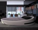 цялостно изпълнение на  интериорен дизайн на спалня с кръгло легло