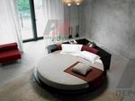 уникален  интериорен дизайн на спалня с кръгло легло по проект