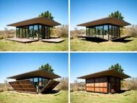 Остъклена градинска къща с дървени капаци по поръчка