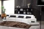 Стилен заоблен диван в бяло по индивидуална заявка