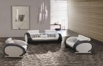 Комплект бели дивани с черни акценти от естествена кожа