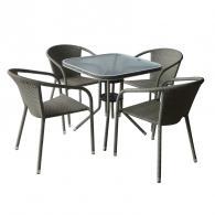 Икономичен комплект изкуствен ратан с 4 стола