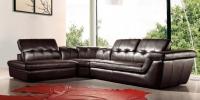 Стилен кожен диван в кафяво