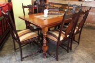 Масивна трапезна маса със столове