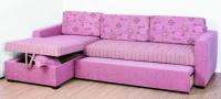 Разтегателен ъглов диван в розово