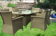 Комплект 6 стола и маса от ратан за градина