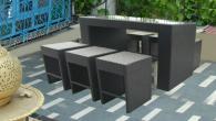 Комплект бар от 6 стола и една маса от ратан