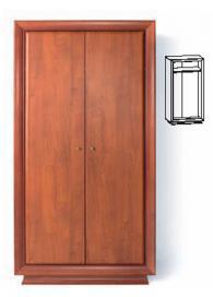 Двукрилен гардероб с размери 207/106,5/62см