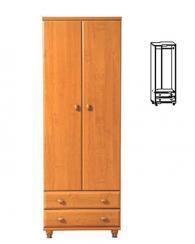 Двукрилен гардероб с чекмеджета 193,5/68/53см