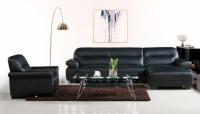 Кожен ъглов диван в цвят черно
