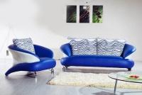 Комплект диван с фотьойл в синьо и бяло
