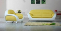 Комплект диван с фотьойл в бяло и жълто