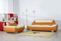 Модерен диван с фотьойл в бяло и оранжево