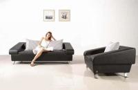 Луксозен черен диван с фотьойл