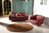 Стилен кожен диван с фотьойл в червено