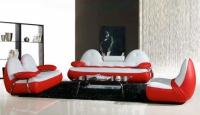 Дизайнерска холна гарнитура в бяло и червено