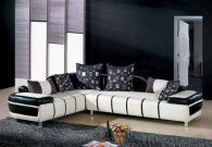 Мека мебел ъгъл в черно и бяло от еко кожа