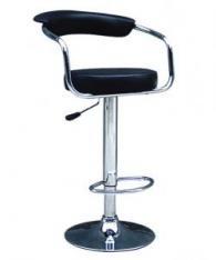 Бар стол с тапицирана седалка в черно