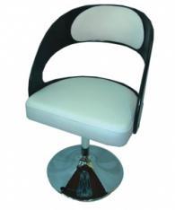 Тапициран бар стол в бяло и черно