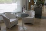 Екзотични маси и столове от бял ратан