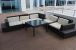 Маси и столове от тъмен ратан за външно и вътрешно ползване