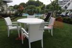 Мебели маси и столове от бял ратан