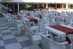 Столове за басейн, произведени от пластмаса, различни модели
