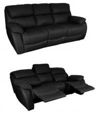 Кожени релакс гарнитури - Кожен диван - тройка с релакс механизъм BAR - черно