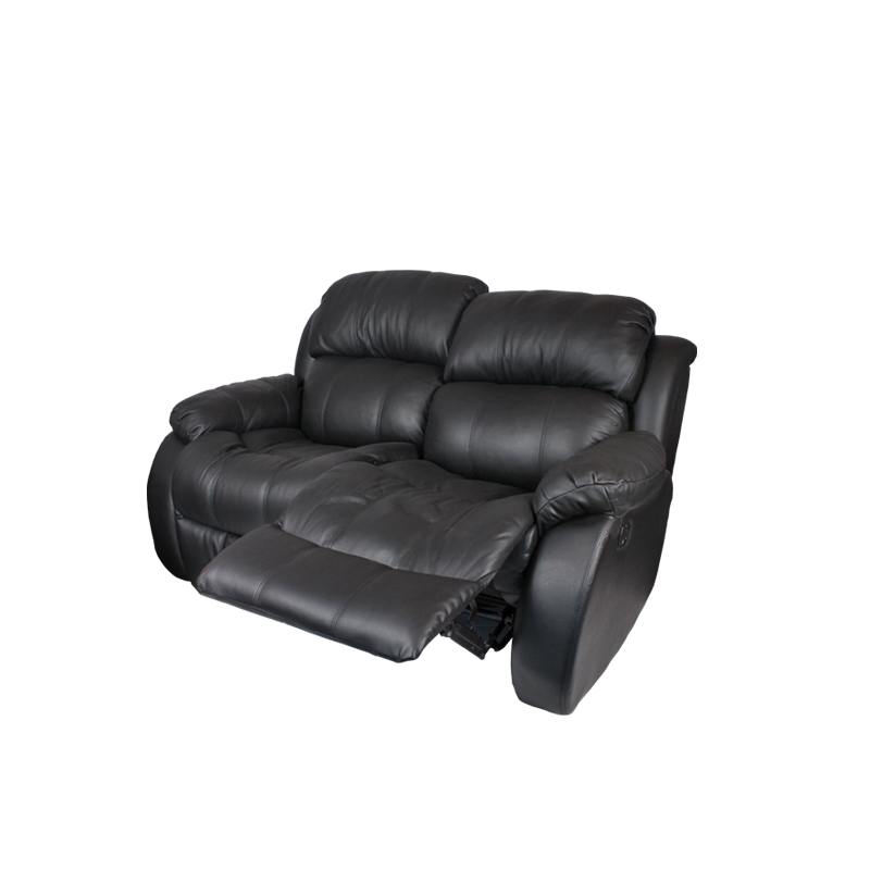 Кожени релакс гарнитури - Кожен диван - двойка с релакс механизъм VICTORY - черно
