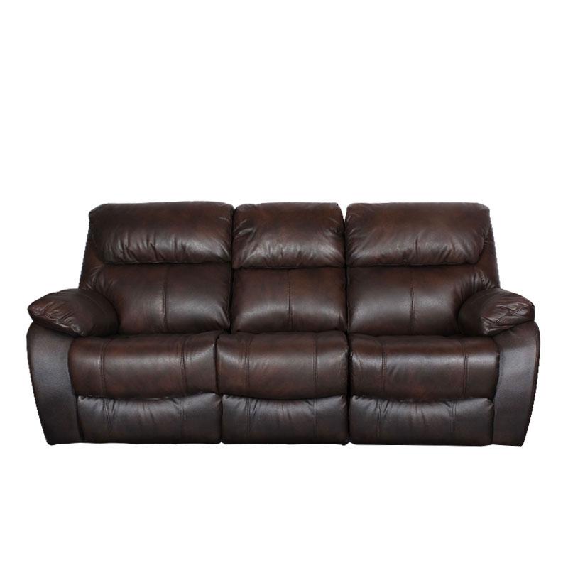 Кожени релакс гарнитури - Кожен диван - тройка с релакс механизъм BAR - метално кафяво