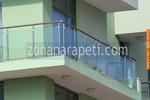 изработка на парапети за тераси от инокс и синьо стъкло