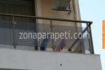 парапет за тераса от инокс и кафяво стъкло