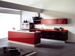 дизайнерски кухни в червен цвят