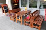 По поръчка дървена маса с дървени пейки по поръчка на клиента