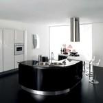 интериори на заоблени мебели лукс в бяло и черно
