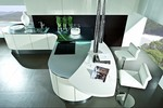 матови заоблени мебели лукс в бяло и черно