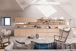 дизайнерски луксозни кухни бежов МДФ