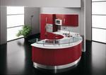 мдф мат овални кухни в червено и бяло