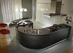 лукс заоблени кухни с плот технически камък