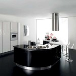 мдф мат заоблени кухни лукс в бяло и черно