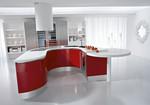 дизайнерски чревени кръгли кухни с бял плот