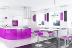 дизайни на кухни с овални форми в ярки цветове