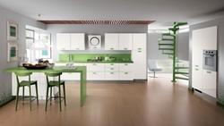 Кухня МДФ бяло и зелено