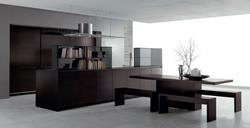 Изчистен дизайн кухня фурнир венге