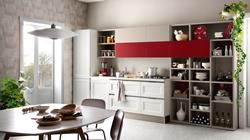 Бяла кухня с рафтове