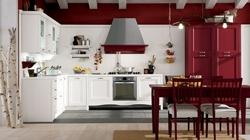 Кухня с таблени врати бяло и червено