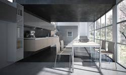 Кухня МДФ цвят капучино и бяло