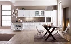 Бяла кухня с таблени врати бял фурнир